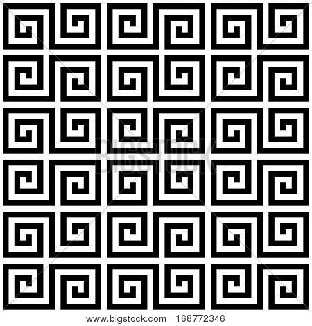 Black and white geometric greek meander spiral traditional seamless pattern, vector background