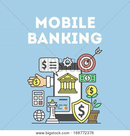 Mobile banking concept. Smartphone, target, dollar and other icons. E-commerce and shopping. Wireless transaction.