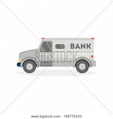 Isolated cash in transit van on white background. Car for money transportation.