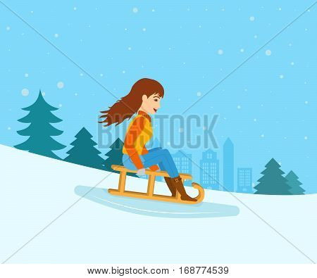 Concept - people and winter sports. Young girl in winter clothes, rolled down from the mountain slope on a sled. Vector illustration. Can be used in banner, mobile app, design.