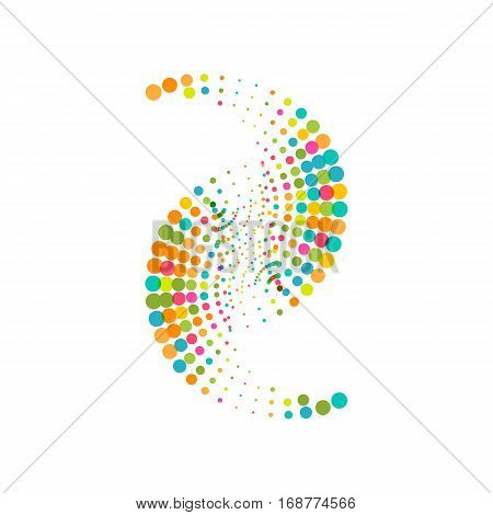 Colorful abstract dotted symbol. Halftone effect festive surface with colored particles. Multicolor dots on white background. Retro vintage hipster style