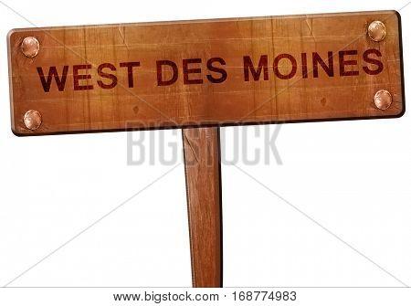 west des moines road sign, 3D rendering