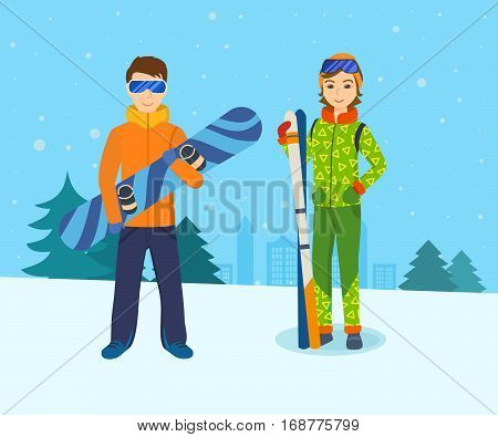 Young man with snowboard in the hands, and the girl with skis, standing on a mountain slope, engage in winter sports. Vector illustration. Can be used in banner, mobile app, design.
