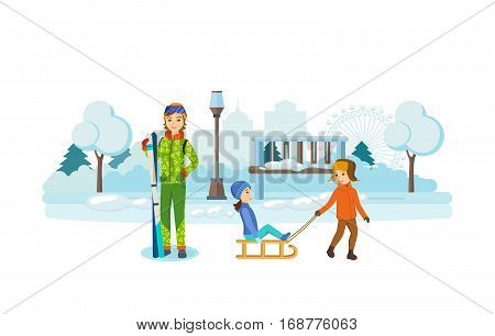 Kids favorite winter activities. Children playing in a winter park, have fun and sledding, a young girl in winter clothes, holding a ski set. Vector illustration. Can be used in banner, mobile app.