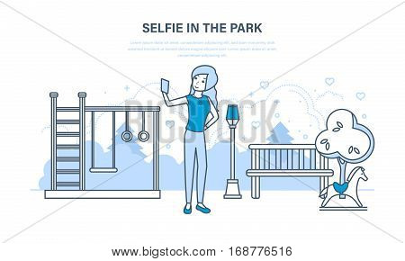 Concept of illustration - selfie in the park. Young girl doing a variety of fun photos in the park recreation and entertainment. Illustration thin line design of vector doodles, infographics elements.