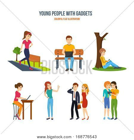 Young people with gadgets set. Athletics with music, working at a laptop, music in the park, freelance at home, selfie, business and telephony, work with the tablet. Colorful flat illustration.