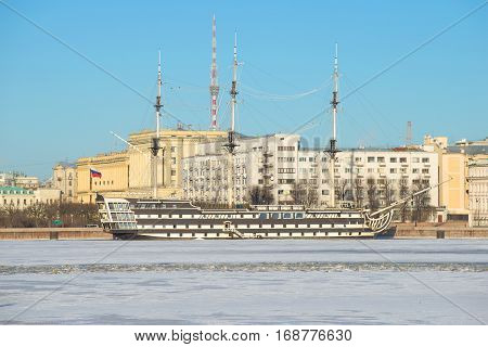 RUSSIA, ST. PETERSBURG - JANUARY 20, 2017: Frigate