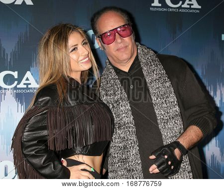 LOS ANGELES - JAN 11:  Valerie Silverstein, Andrew Dice Clay at the FOX TV TCA Winter 2017 All-Star Party at Langham Hotel on January 11, 2017 in Pasadena, CA