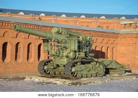 RUSSIA, ST. PETERSBURG - JANUARY 20, 2017: Heavy 203-mm howitzer B-4 sample of 1931 against the wall of the Artillery Museum. Saint Petersburg