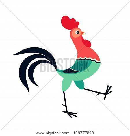 Vector illustration of walking cartoon rooster isolated on white background