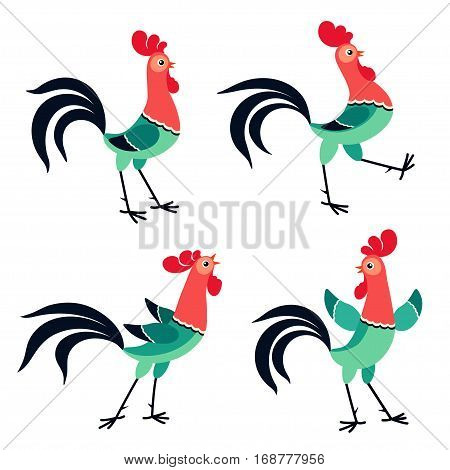 Vector set of cartoon rooster in various poses isolated on white background