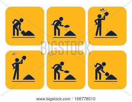 Digging man. Vector illustration of animation throwing soil over his shoulder