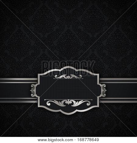 Vintage black background with old-fashioned patterns and frame.