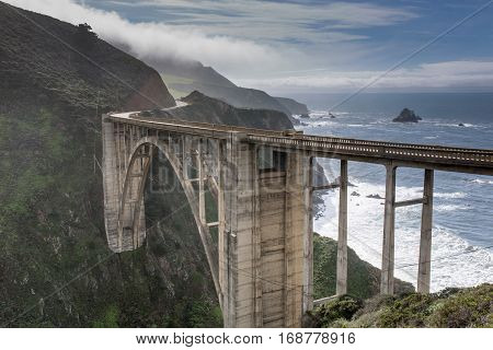 Bixby Creek Bridge from the Coast Road. Big Sur, Monterey County, California, USA