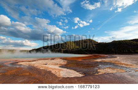 Grand Prismatic Hot Spring under western cloudscape in the Midway Geyser Basin in Yellowstone National Park in Wyoming United States