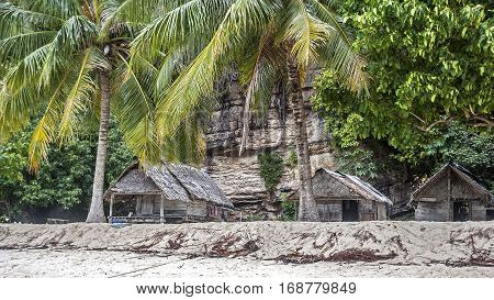 Thailand Krabi Province. Fishing village on one of the many islands in the sea. The huts with bamboo walls covered with palm leaves.