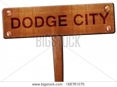dodge city road sign, 3D rendering