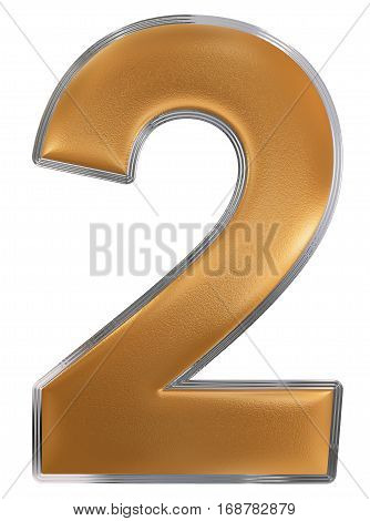 Numeral 2, Two, Isolated On White Background, 3D Render