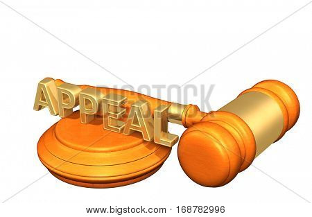 Appeal Legal Gavel Concept 3D Illustration