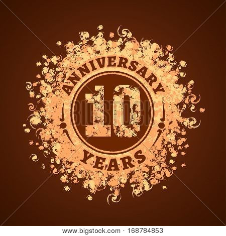 10 years anniversary vector icon logo. Graphic design element golden decoration for 10th anniversary card