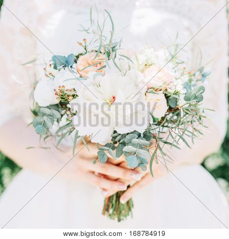 beauty bright colorful wedding bouquet. front view