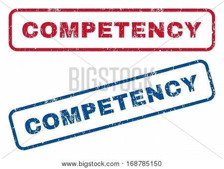 Competency text rubber seal stamp watermarks. Vector style is blue and red ink tag inside rounded rectangular banner. Grunge design and dust texture. Blue and red emblems.