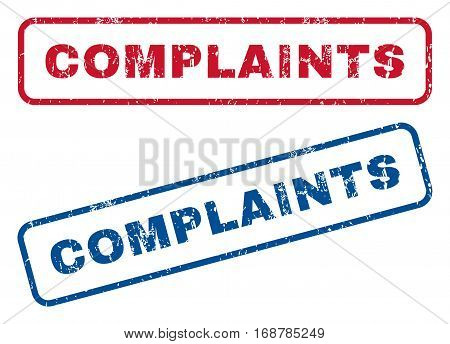Complaints text rubber seal stamp watermarks. Vector style is blue and red ink tag inside rounded rectangular banner. Grunge design and scratched texture. Blue and red emblems.