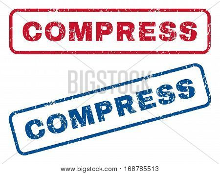 Compress text rubber seal stamp watermarks. Vector style is blue and red ink tag inside rounded rectangular banner. Grunge design and scratched texture. Blue and red stickers.