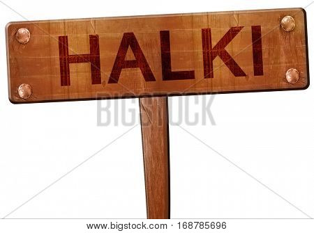 Halki road sign, 3D rendering