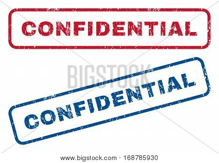 Confidential text rubber seal stamp watermarks. Vector style is blue and red ink tag inside rounded rectangular shape. Grunge design and dirty texture. Blue and red stickers.