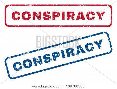 Conspiracy text rubber seal stamp watermarks. Vector style is blue and red ink tag inside rounded rectangular banner. Grunge design and scratched texture. Blue and red stickers.