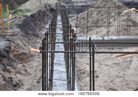 Iron Bar formwork for concrete structures. Metal Rebar