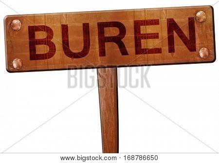 Buren road sign, 3D rendering