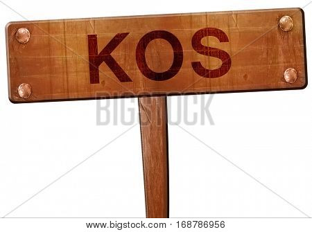 Kos road sign, 3D rendering