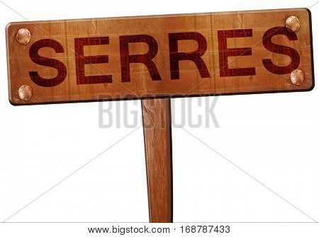 Serres road sign, 3D rendering