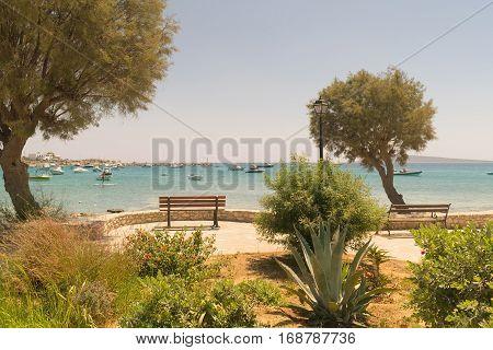 Alyki beach seascape at Paros island in Greece.