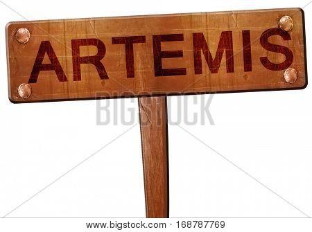 Artemis road sign, 3D rendering