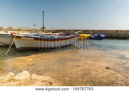 Seascape of Alyki at Paros island in Greece.