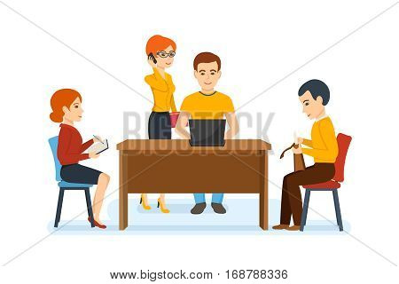 Businessman in office work situations concept. Colleagues, working in office, discussing work issues with the head and with each other. Cartoon vector illustration isolated on white background.