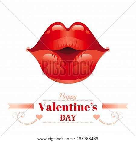 Happy Valentines day romance love text lettering, isolated border white background. Cute romantic passion vector illustration. Sexy kissing woman lips, red lipstick. Greeting card. Flat cartoon icon
