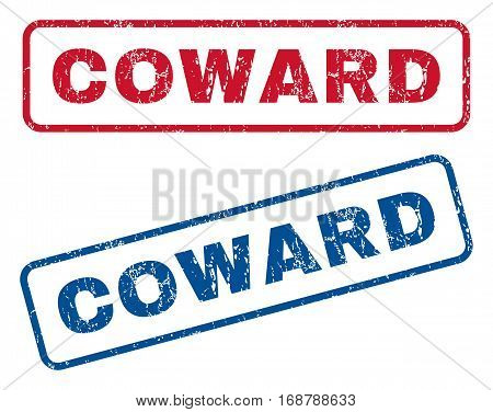 Coward text rubber seal stamp watermarks. Vector style is blue and red ink tag inside rounded rectangular shape. Grunge design and dirty texture. Blue and red emblems.