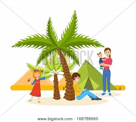 Summer journey together in warm country, vacationing in good mood, familiarity with country, leisure, fun, family holiday. Vector illustration on white background. Can be used in banner, design.