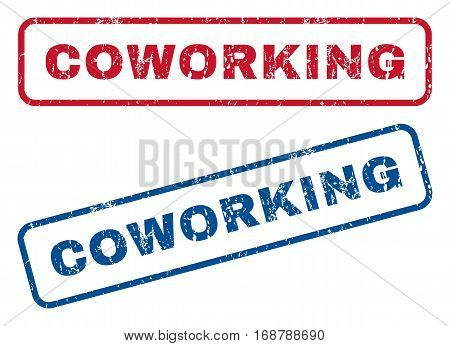 Coworking text rubber seal stamp watermarks. Vector style is blue and red ink tag inside rounded rectangular shape. Grunge design and scratched texture. Blue and red stickers.