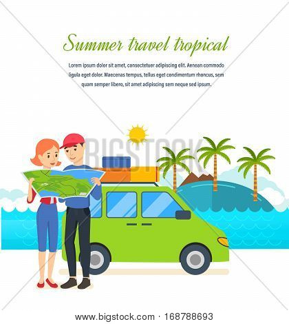 Summer travel tropical. Family trip to warm country in his car. Familiarity with the country, atmosphere of the surroundings, traditions, holidays. Can be used poster, invitation.