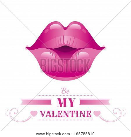 Happy Valentines day romance love text lettering, isolated border white background. Cute romantic passion vector illustration. Sexy kissing girl lips icon, lipstick. Greeting card. Flat cartoon sign