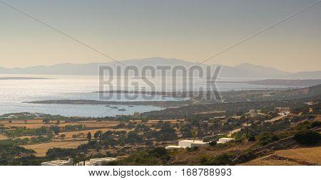 Beautiful Paros island view in Greece landscape.