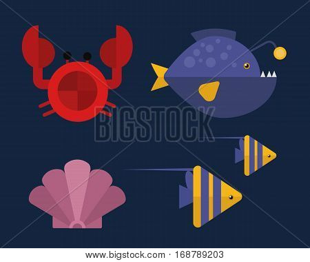 Vector cartoon illustration of cute happy crab character, lifting up claws isolated. Ocean underwater animals. Aquarium life water graphic tropical fish.
