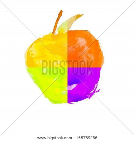 watercolor apple on a white background isolated. four color