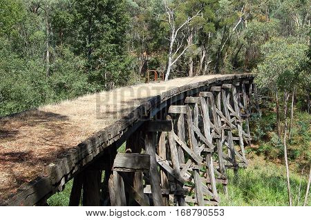 Abandoned old wooden railway bridge over the Boggy Creek near Koetong in Victoria, Australia