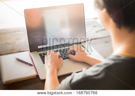 Online business woman working at home stock photo